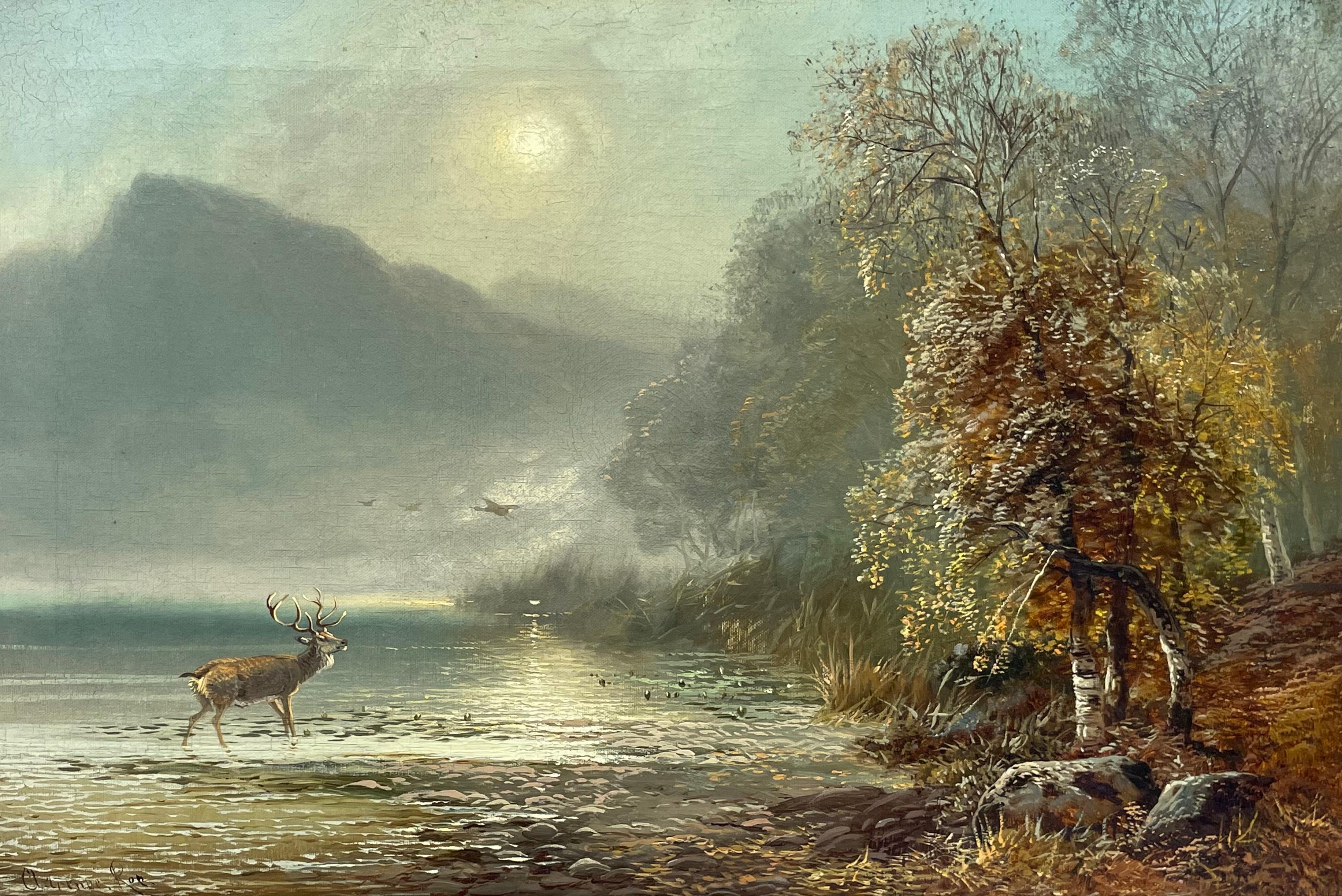 Antique Scottish Oil Painting Stag in Highland Loch Scene at Sunset Large Work