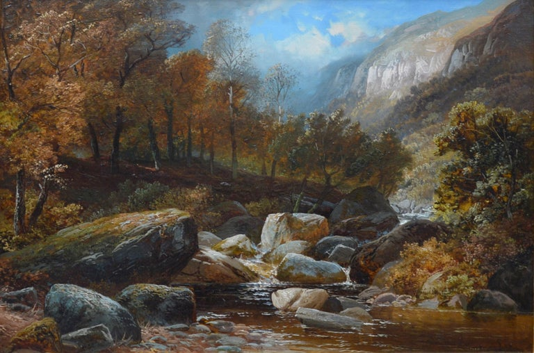 'Creeping Steads, River Twiss' by Clarence Henry Roe (1850-1909).   A large fine 19th century oil on canvas depicting river rapids on the River Twiss near the village of Ingleton in the Yorkshire Dales. The painting is signed by the artist and hangs