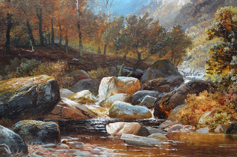 Creeping Steads, River Twiss - 19th Century Yorkshire Landscape Oil Painting For Sale 1