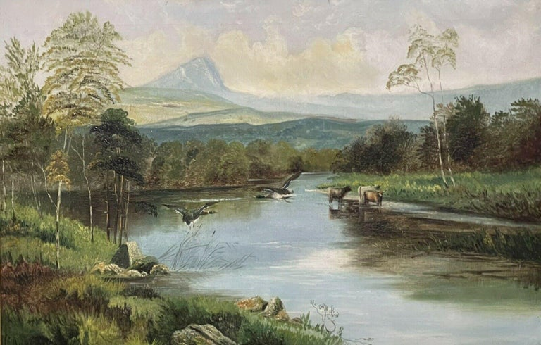 Large Victorian Scottish Highlands Oil Painting - Cattle & Ducks Loch - Brown Animal Painting by Clarence Roe