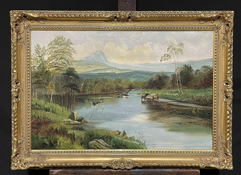 Clarence Roe Animal Painting - Large Victorian Scottish Highlands Oil Painting - Cattle & Ducks Loch