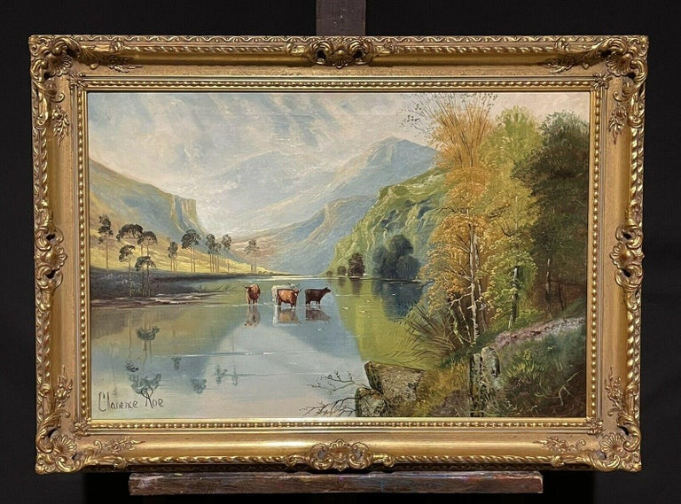 Large Victorian Scottish Highlands Oil Painting - Cattle Watering Loch Katrine - Brown Landscape Painting by Clarence Roe