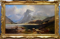 Loch Lomond - Very Large 19th Century Scottish Highland Landscape Oil Painting