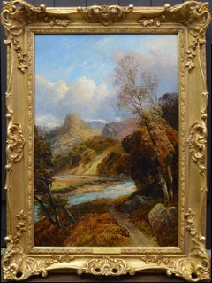 On the River Tay - 19th Century Landscape Oil Painting of Scottish Highlands