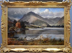 Scafell Pike from Wastwater - 19th Century English Landscape Oil Painting