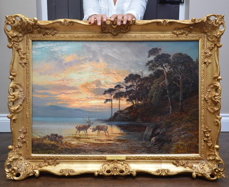 Sunset, Loch Katrine - 19th Century Scottish Landscape Oil Painting  - Brown Animal Painting by Clarence Roe