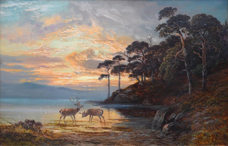 'Sunset, Loch Katrine' by Clarence Henry Roe (1850-1909).   A large fine 19th century oil on canvas depicting deer watering at the edge of Loch Katrine in the Scottish Highlands beneath a magnificent evening sunset. The painting is signed by the