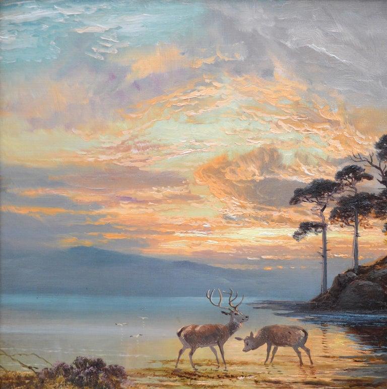 Sunset, Loch Katrine - 19th Century Scottish Landscape Oil Painting  For Sale 1
