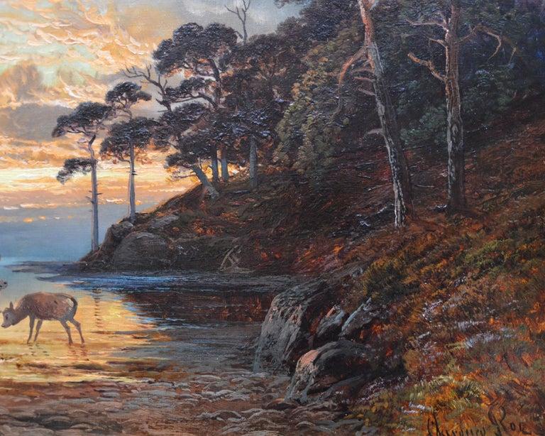Sunset, Loch Katrine - 19th Century Scottish Landscape Oil Painting  For Sale 2
