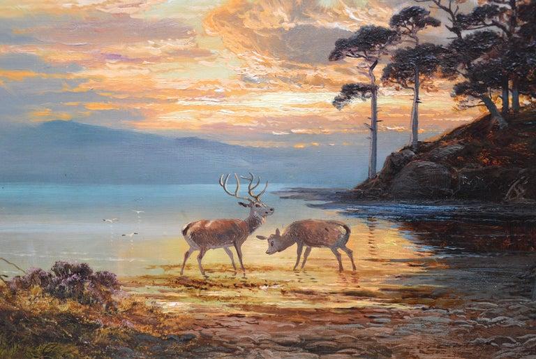Sunset, Loch Katrine - 19th Century Scottish Landscape Oil Painting  For Sale 3