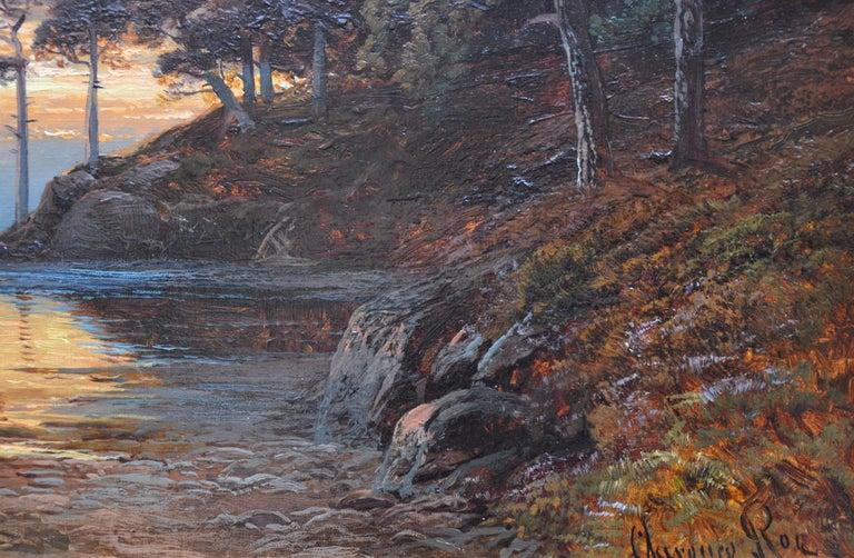 Sunset, Loch Katrine - 19th Century Scottish Landscape Oil Painting  For Sale 4