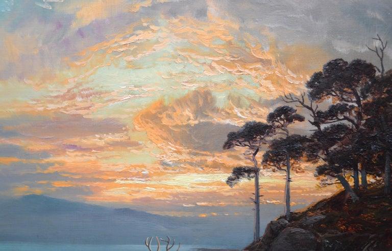 Sunset, Loch Katrine - 19th Century Scottish Landscape Oil Painting  For Sale 5