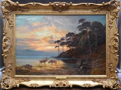 Sunset, Loch Katrine - 19th Century Scottish Landscape Oil Painting
