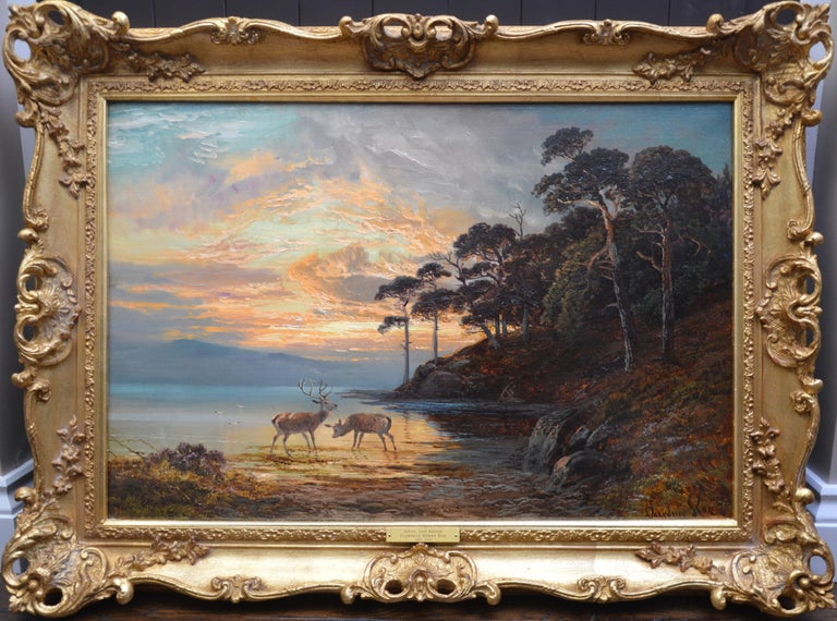 Clarence Roe Animal Painting - Sunset, Loch Katrine - 19th Century Scottish Landscape Oil Painting