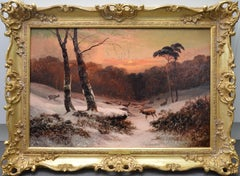 Winter Sunset - 19th Century Landscape Oil Painting
