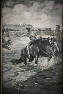 Western River  Crossing Equestrian  Landscape Painting circa 1910