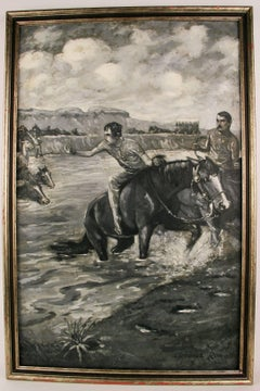 River  Crossing Equestrian  Landscape Painting circa 1910