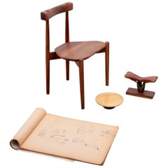 Clarence Teed Collection of a Chair, one Platter a Sculpture and a Sketch Book