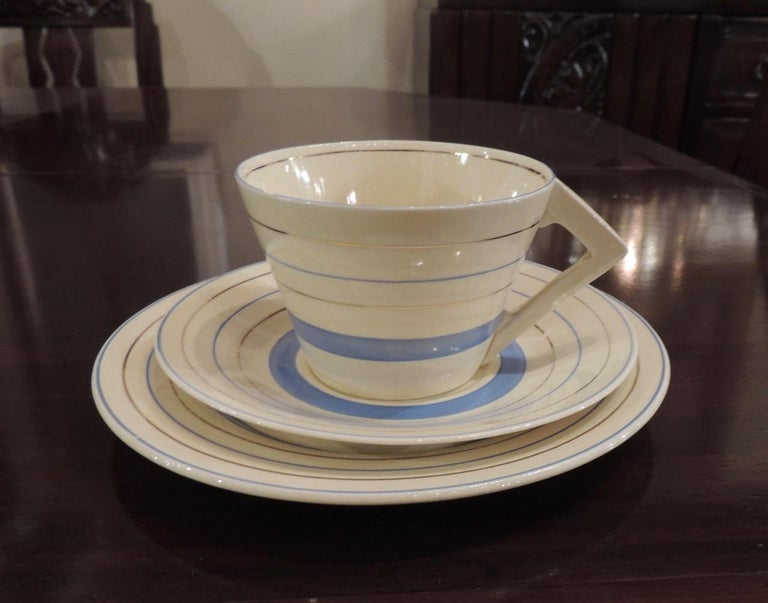 English Clarice Cliff Art Deco Tea and Coffee Set for Eight For Sale