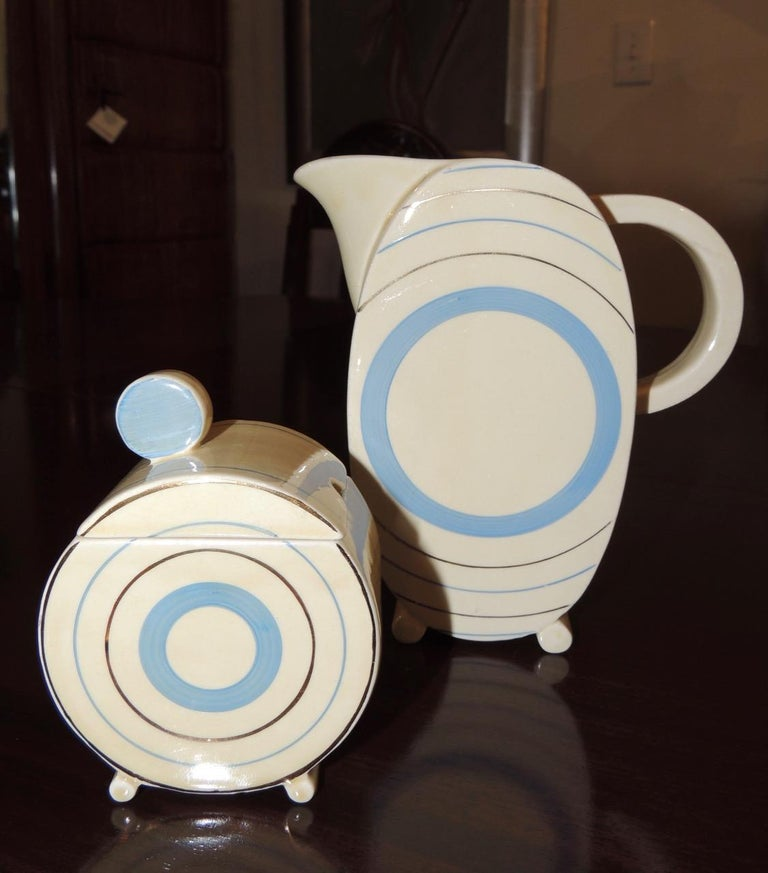 Clarice Cliff Art Deco Tea and Coffee Set for Eight For Sale 2