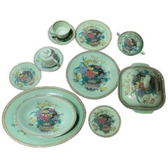 Clarice Cliff Royal Staffordshire Green Ophelia Porcelain Dinnerware Set, 1930s
