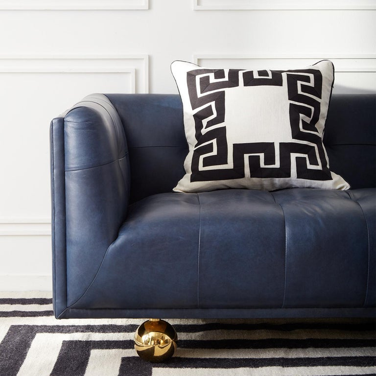 Claridge Modern Chesterfield Sofa in Navy Leather