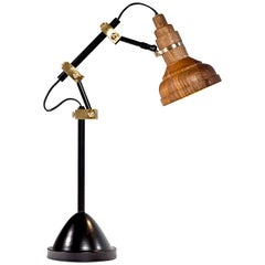 Clarify, Vintage Metal and Wood Desk Lamp, Study Light