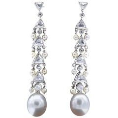 Claris.A 18 Karat White Gold Pearl Diamond Dangle Chandelier Earrings