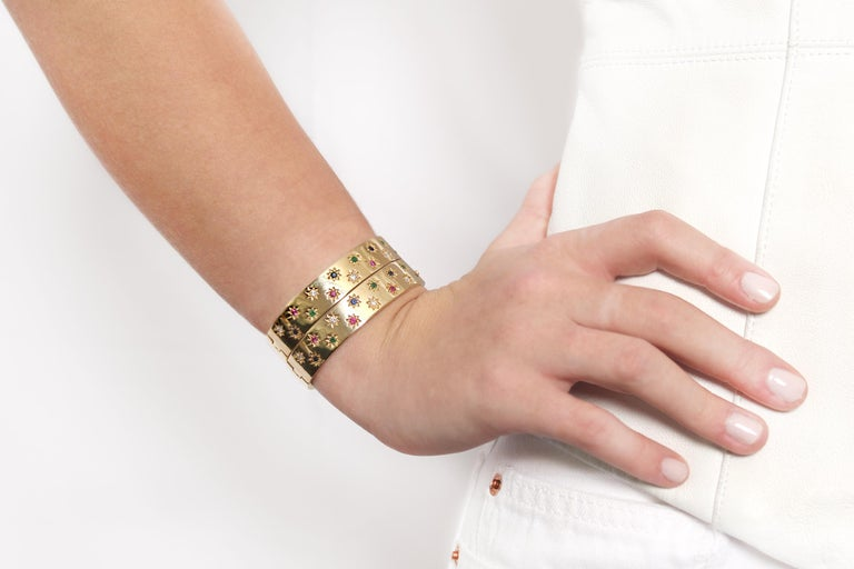 14K Gold Bangle Bracelets with Diamonds, Emeralds, Sapphires, Rubies.   Shiny Finish, Hinged Side