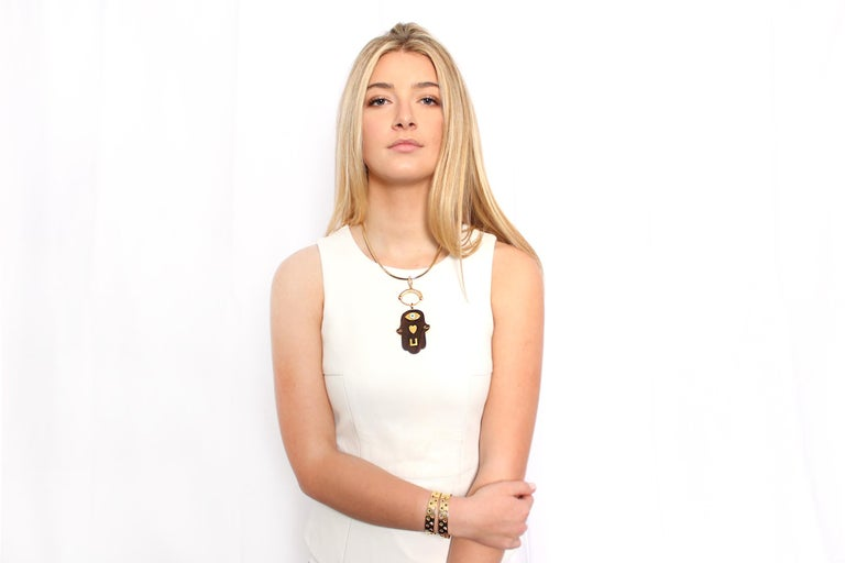 Contemporary Clarissa Bronfman 14 Karat Gold Diamond Emerald Ruby Sapphire 'Dinorah' Bracelet