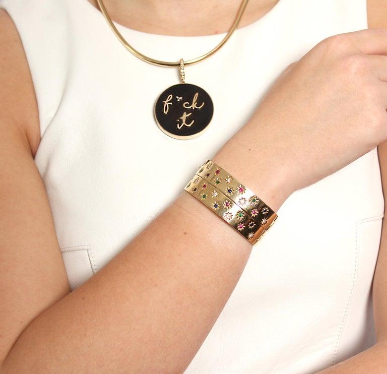 Clarissa Bronfman 14 Karat Gold Diamond Emerald Ruby Sapphire 'Dinorah' Bracelet In New Condition In New York, NY