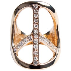 Clarissa Bronfman 14 Karat Gold Diamond Peace Ring Shiny Finish
