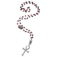 Clarissa Bronfman 14 Karat Gold Garnet Diamond Ruby Skull Ankh Rosary
