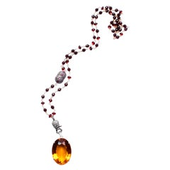 Clarissa Bronfman 14 Karat Gold Ruby Diamond Citrine Pendant Rosary Necklace