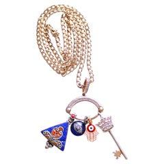 Clarissa Bronfman 14k Gold Eye Shape Charm Holder Multi Charms on Gold Chain