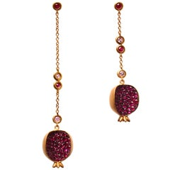 Clarissa Bronfman 14K Gold, Gold Plate, Ruby, Pink Sapphire Pomegranate Earrings