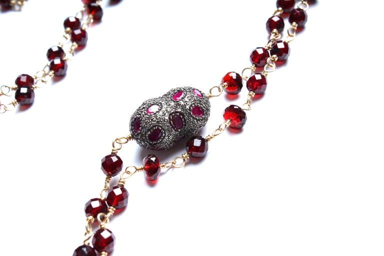 Contemporary Clarissa Bronfman 14 Karat Gold Ruby Diamond Citrine Pendant Rosary Necklace For Sale