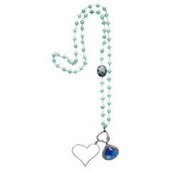 Clarissa Bronfman Agate 14kgold Keynite Diamond Emerald Pendant Rosary Necklace