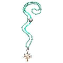 Clarissa Bronfman Agate Diamond 14k Gold Tanzanite Diamond Tree of Life Necklace