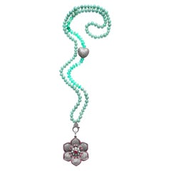 Clarissa Bronfman Agate, Diamond, Ruby, Flower Pendant Beaded Necklace