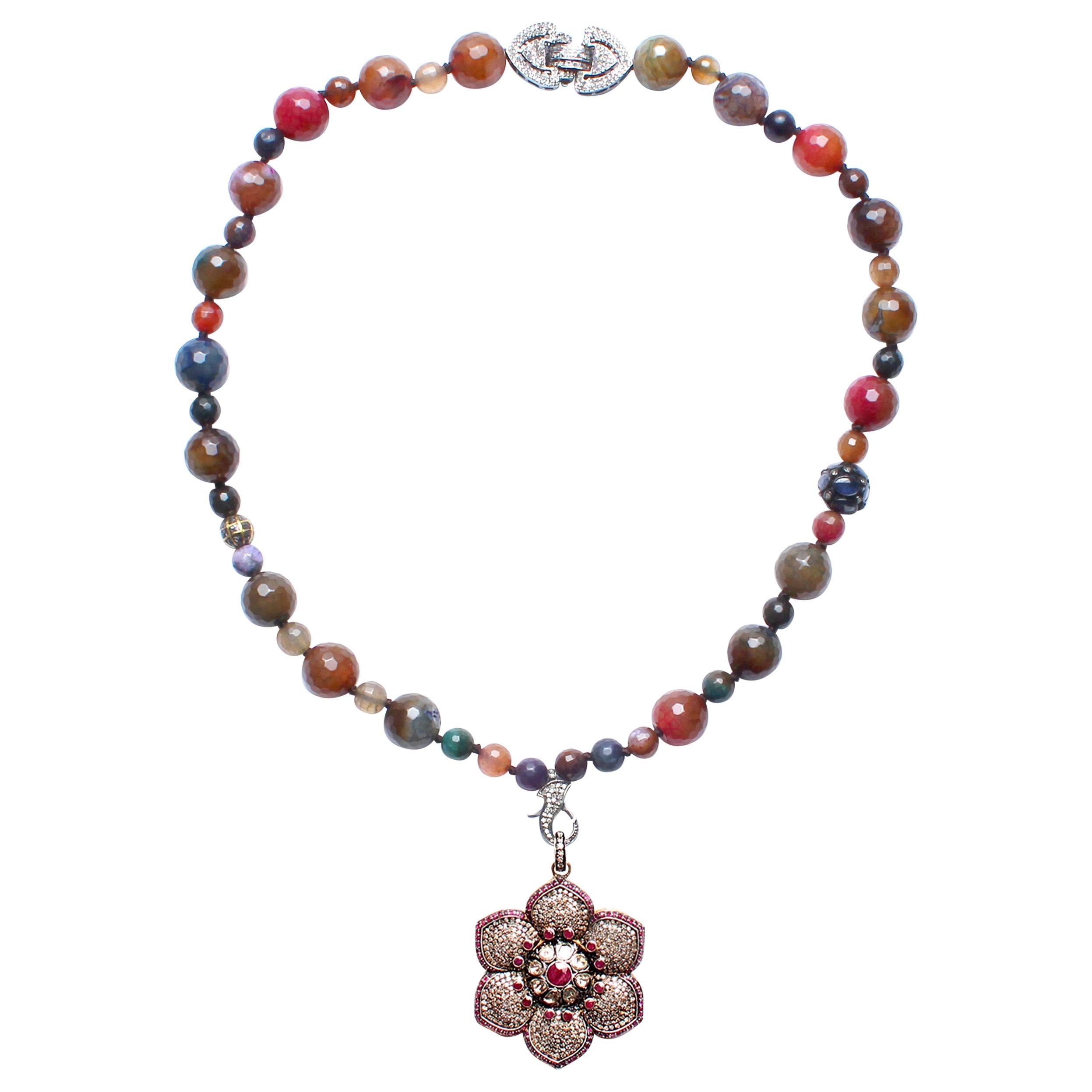 Clarissa Bronfman Agate Sapphire Diamond Ruby Enamel Flower Pendant Necklace