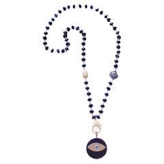 Clarissa Bronfman Black Agate 14k Gold Diamond Ebony Evil Eye Pendant Necklace