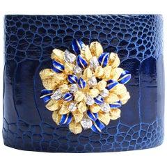 Clarissa Bronfman Blue Crocodile 14 Karat Gold Enamel Flower Bush Cuff Bracelet