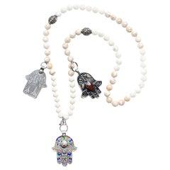 Clarissa Bronfman  Antique Moroccan Hamsa Hand Moonstone Diamond Beaded Necklace