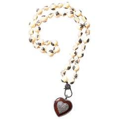 Clarissa Bronfman Bone, Ebony, Diamond Heart Beaded Necklace