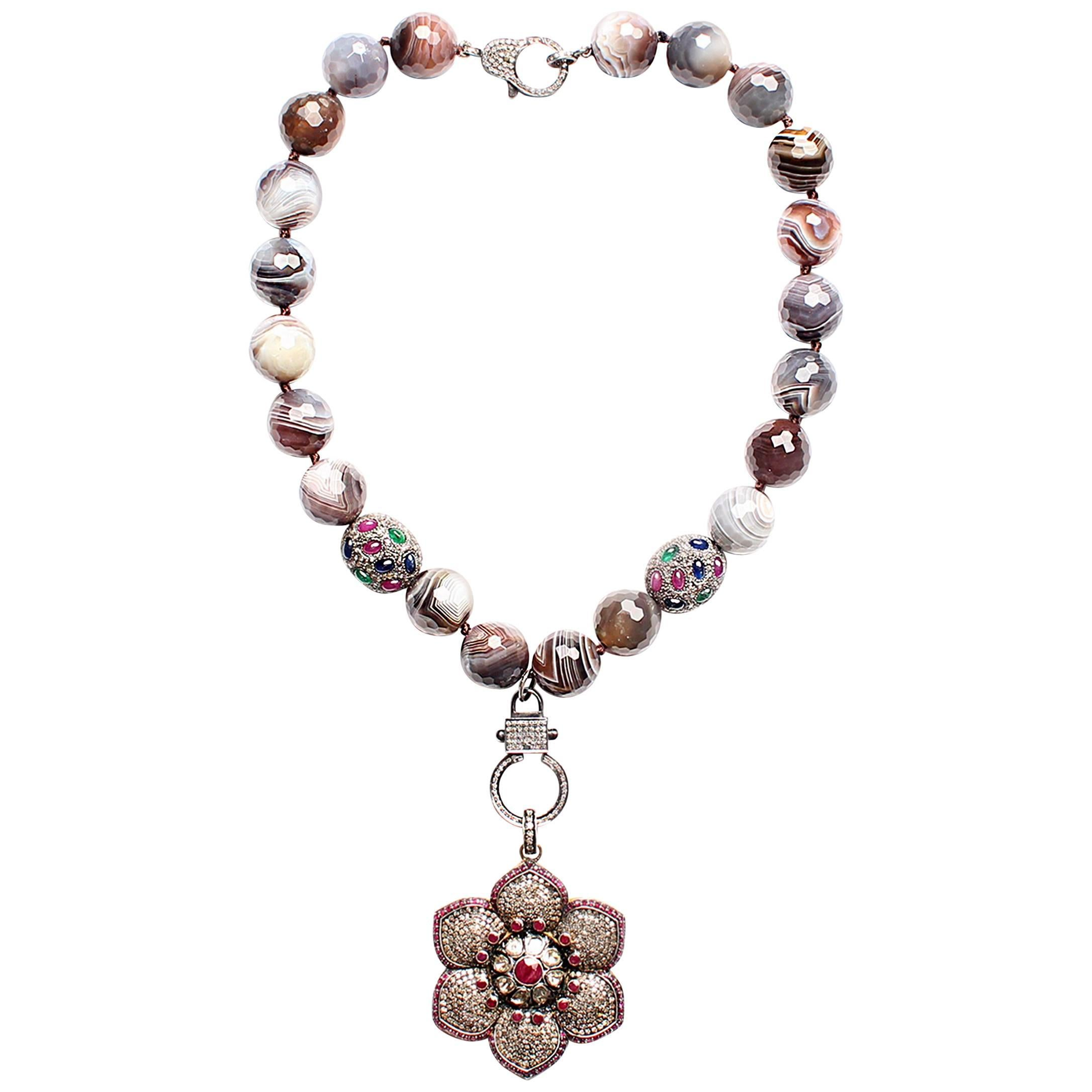 Clarissa Bronfman Botswana Agate, Diamond, Ruby, Emerald, Sapphire Necklace