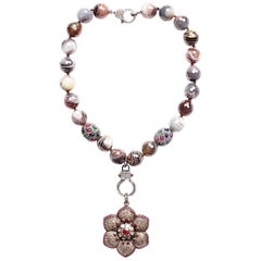 Clarissa Bronfman Botswana Agate, Diamond, Ruby, Emerald, Sapphire Necklace