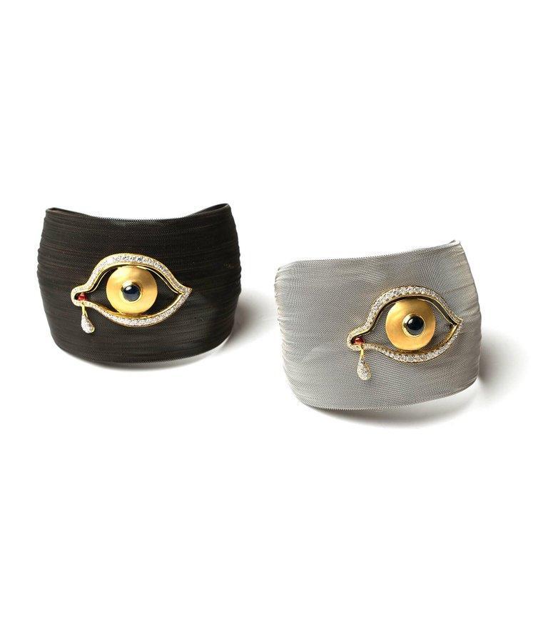 Clarissa Bronfman Bronze Diamond and Sapphire 'Dali Eye Mesh Bracelet'  For Sale 1