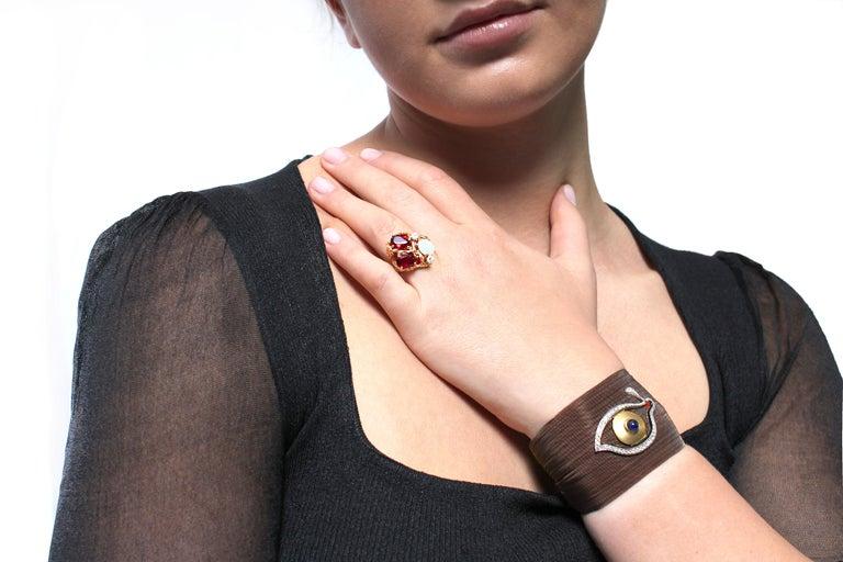 Contemporary Clarissa Bronfman Bronze Diamond and Sapphire 'Dali Eye Mesh Bracelet'  For Sale