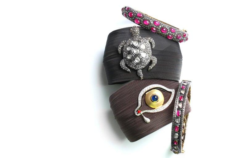 Women's Clarissa Bronfman Bronze Diamond and Sapphire 'Dali Eye Mesh Bracelet'  For Sale